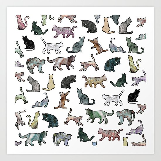 Cats shaped Marble - White Art Print