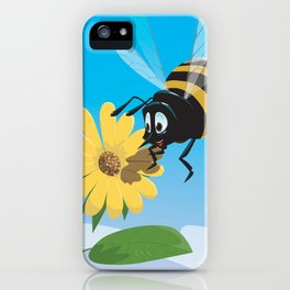 Happy cartoon bee with yellow flower LARGE iPhone Case