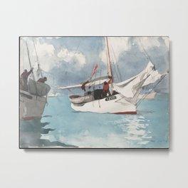 Fishing Boats Key West Watercolor Painting Metal Print