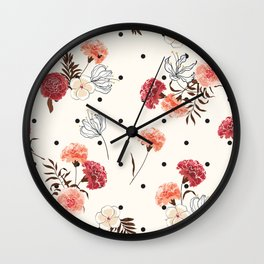 Farmhouse Chic Flower Pattern in Pink Black and White Wall Clock