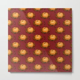 Pumpkin with Heart Leaves Harvest Fall Pattern Red Metal Print