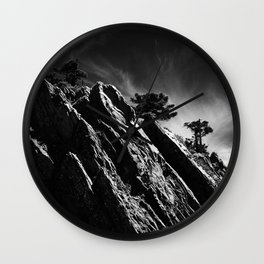 mountains and mist Wall Clock