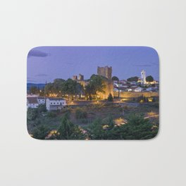 Braganca castle and town at dusk, Portugal Bath Mat