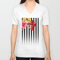 stripes V-neck T-shirts featuring FLORA BOTANICA | stripes by Cheryl Daniels