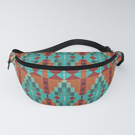 Orange Red Aqua Turquoise Teal Native Mosaic Pattern Fanny Pack