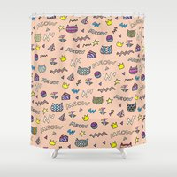meow Shower Curtains featuring meow by galactikat