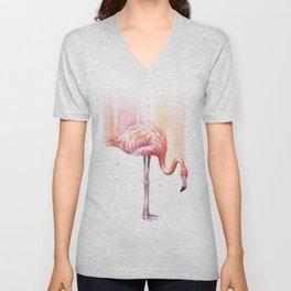 Pink Flamingo Watercolor Bird Animals Whimsical Animal Unisex V-Neck