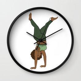 Melanin Yogi Handstand Flow • Thick Fit Yogi • Forest tone Yoga Wall Clock