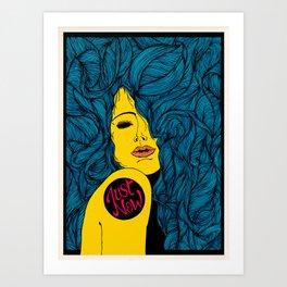 Just Now - Blue Art Print