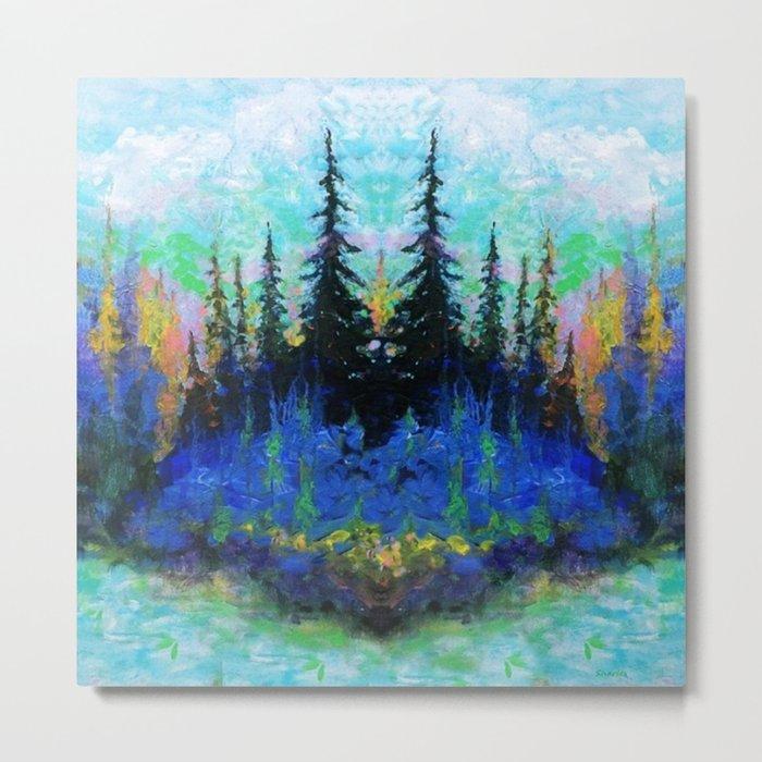 Blue Spruce Island Abstract Art Metal Print