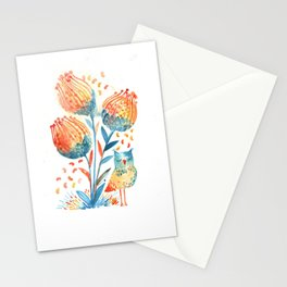 Big flowers & tiny owl Stationery Cards
