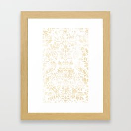Vintage Floral Pattern White Wash Framed Art Print