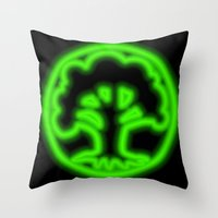 magic the gathering Throw Pillows featuring Magic the Gathering, Neon Green Mana by Thorn Blackstar