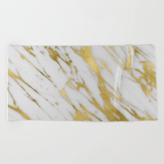 Gold White Marble Beach Towel