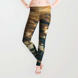 Sparkling Ocean in Gold and Navy Blue Leggings