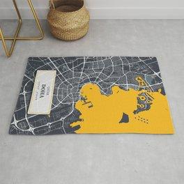 Doha, Qatar City Map with GPS Coordinates Rug