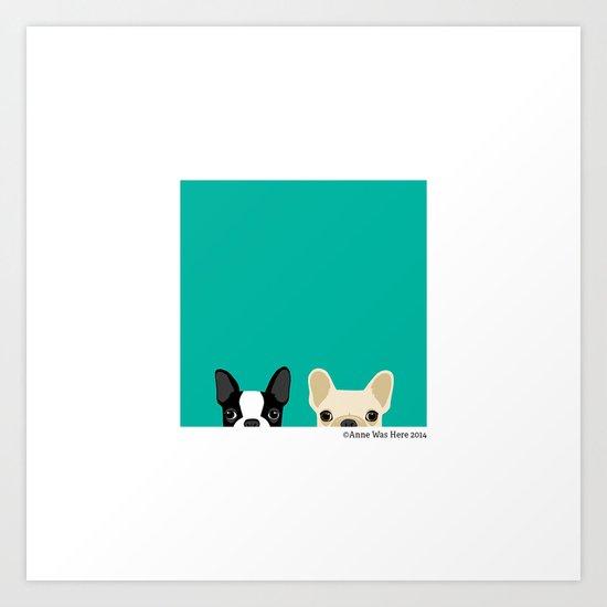 Boston Terrier & French Bulldog 2 Art Print