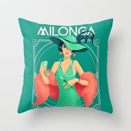 Mint Green and Burnt Coral Art Deco Flapper at a Speakeasy Milonga Throw Pillow