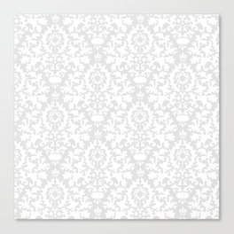 Vintage chic gray white abstract floral damask pattern Canvas Print