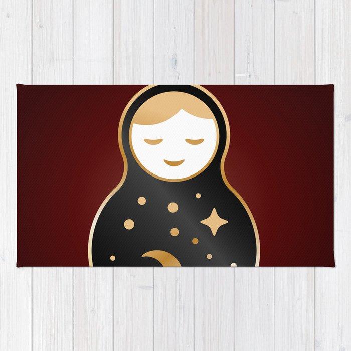 Russian Doll Matrioshka Babushka Smiling Kawaii Cute Face Stars Moon Constellation Night