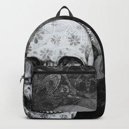 Not here floral skull Backpack