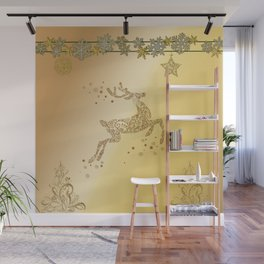 Christmas, beautiful golden reindeer with snowflakes Wall Mural