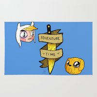 finn and jake Area & Throw Rugs featuring Finn and Jake by Nate Galbraith