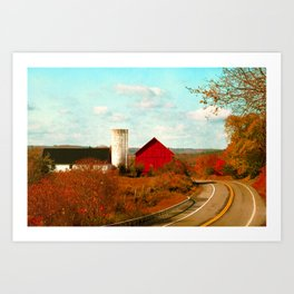Red and White Barns and Fall Colors Art Print