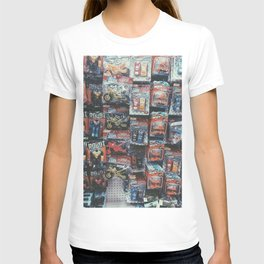 robot toy and car toy at the toy store pattern background T-shirt
