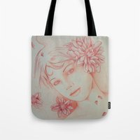 leah flores Tote Bags featuring Flores. by marmaseo