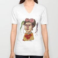 frida V-neck T-shirts featuring FRIDA by busymockingbird