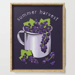 Mug with fresh black currant berries. Summer harvest Serving Tray