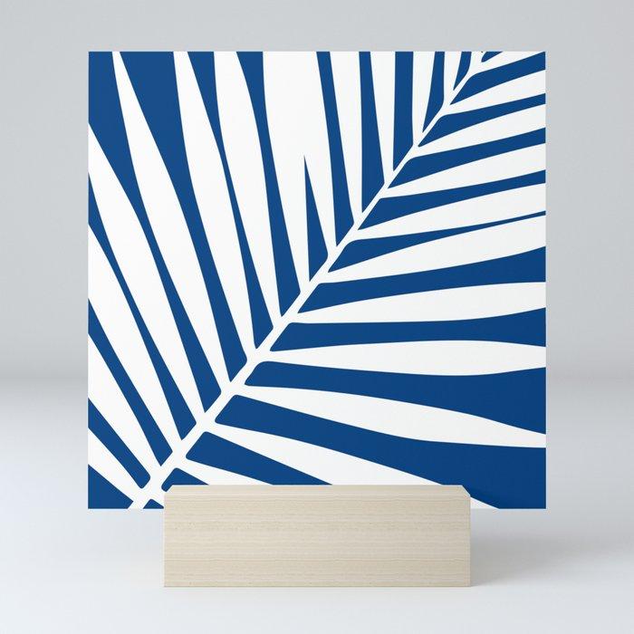 palm leaf blue and white Mini Art Print