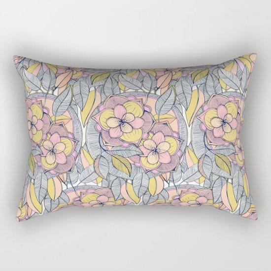 Pink and Peach Linework Floral Pattern Rectangular Pillow