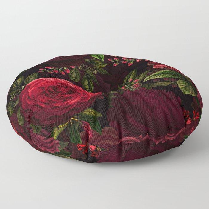 Mystical Night Roses Floor Pillow