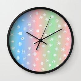 Christmas happy holidays snowflakes Wall Clock