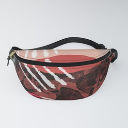 Just Passing Through Abstract Shapes in Red Palette Fanny Pack