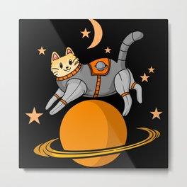 Cute cartoon cat astronaut jumping over planet Metal Print