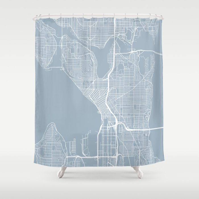 Seattle Map Usa Slate Shower Curtain By Mainstreetmapscolor