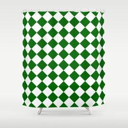 Diamonds - White and Dark Green Shower Curtain