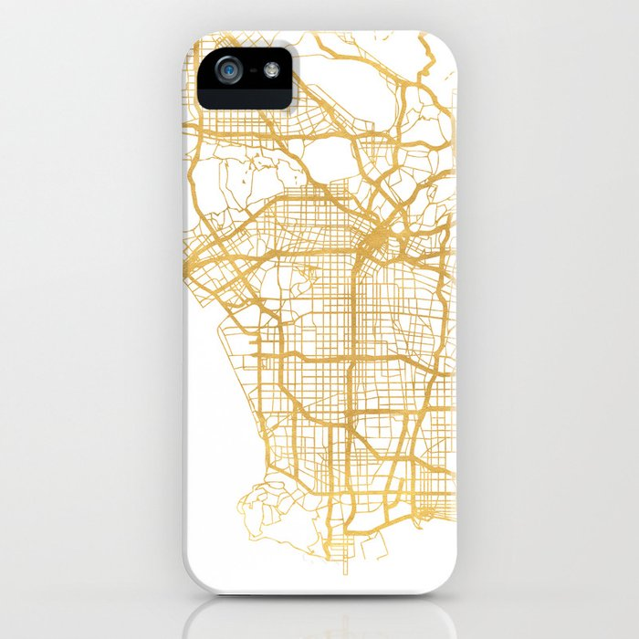 los angeles california city street map art iphone case