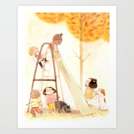 Fun Fall Day with Friends Art Print