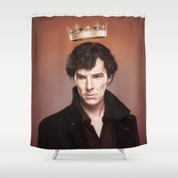 stephen king Shower Curtains featuring King by tillieke