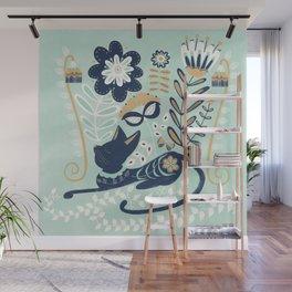 Cat in Flowers, Folk Art Illustration Wall Mural
