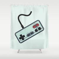 gamer Shower Curtains featuring Vintage + Retro Gamer / Gamer by BackInTheDay LAB