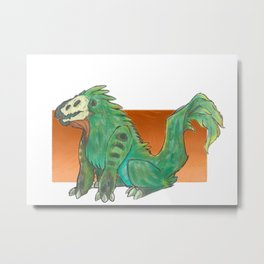 A Feathery Green Monster Metal Print