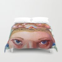 princess peach Duvet Covers featuring Princess Peach by Jodi Hoover Art