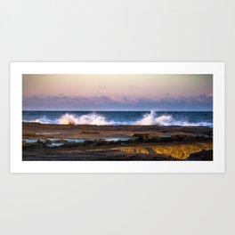 Merewether Beach, Newcastle Wave Crashing w/Sunset, Winter (Landscape) Art Print