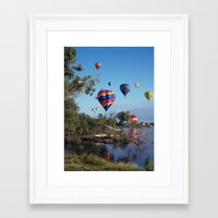 hot air balloon Framed Art Prints featuring Hot air balloon scene by Bruce Stanfield