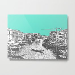 Venice Gondola Down River, Italy. (bold art, collage, travel photography color print) Metal Print